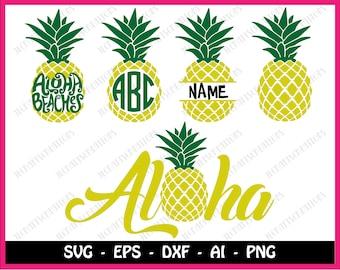 Pineapple SVG, Pineapple Monogram SVG, Pineapple Monogram Frame svg, SVG Files, Cricut Cut Files, Silhouette Cut Files