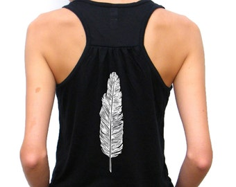 Ladies Flowy Racerback Tank Top - Hand Drawn Feather Design - Bella Flowy Tank - Small, Medium, Large, Extra Large, 2XL
