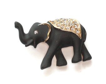 Black Enameled Elephant Brooch Rhinestone Saddle Matte Finish Pin Lucky Upturned Trunk Vintage