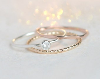 birthstone stacking ring SET. gemstone ring. sterling silver. mothers rings. stacking rings. personalized custom rings. teen girl gift.