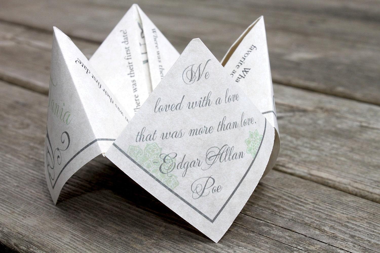 Wedding Favor Cootie Catcher PDF PRINTABLE