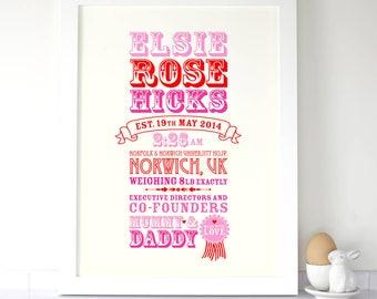 Personalised 'Established' Baby Birth Print