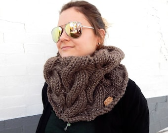 Made to Order: Brown, Handmade, Chunky Knit Cowl - Acrylic/Wool Blend - Sparkly
