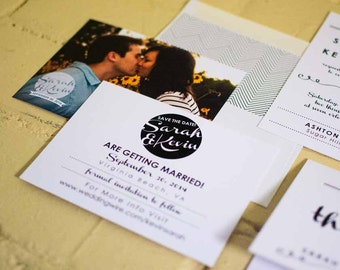 Kyleigh Save the Date Cards with Matching Envelopes, Modern Black and White Engagement Announcement
