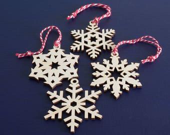 4x wooden Chrsitmas snowflake hanging decorations. Laser cut Xmas tree decor L7