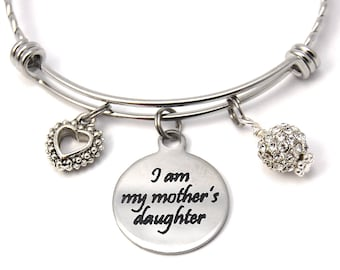 Mother Daughter bangle, Mother's Day bracelet, heart charm, expandable bangle, charm bangle, initial bracelet, stainless steel bangle