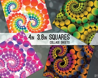 Psychedelic Retro Dots 3.8 and 4x4 Inch Square Digital Collage Sheet for Cardmaking Scrapbooking Coasters Hangtags