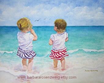 Twins Baby Gift, Girl Painting, Beach Art Print, Beach Wall Art, Coastal Decor, Beach Watercolor Painting, Nursery Decor, Child Room Decor