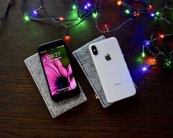iPhone 4 / 4S / 5 / 5S / 6 / 6S / 7 / 8 / 8 plus felt cover case sleeve pouch bag