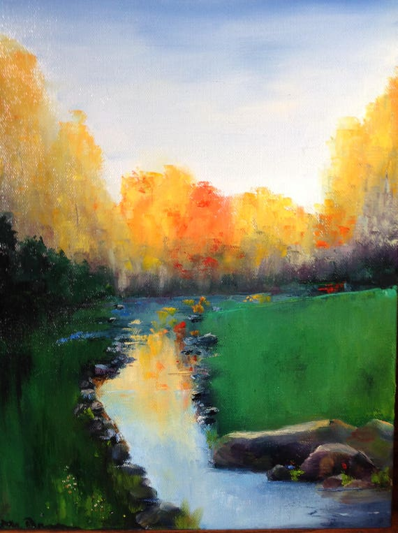 Fall Painting Art, Landscape Painting, Emerald Green