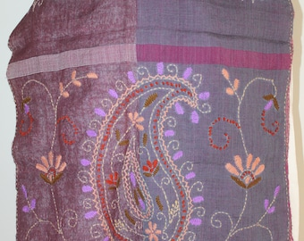 Purple Blue, Pure Soft Wool, Vintage, Paisley, Hand Embroidered, Soft Stole Boho Shawl Wrap Muffler Wrap with Tassels, Valentine's Day Gift
