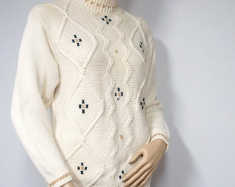 1980's Sweater Vintage Pullover Sweater Embroidered Cream Crew Neck Warm Raised Knit Design Size Petite