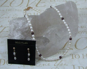 Pearl and Garnet Necklace and Earring Set, Genuine 18 Inch Pearl Jewelry Set, Bridal Pearl Set