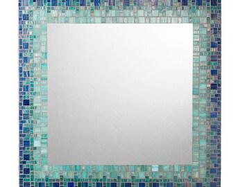 Coastal Mosaic Mirror | Custom Wall Mirror | Beachy Mirror | Handmade Mirror | Deep Blue, Sea Green & Teal Glass Mosaic