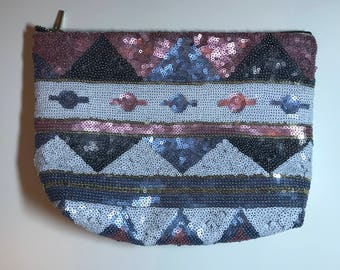 Sequined & Studded Pleather Clutch Bag