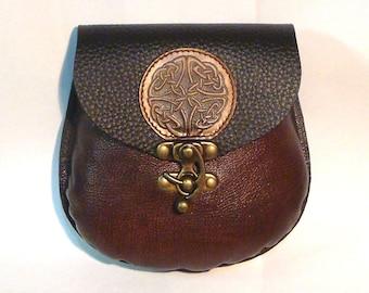 Celtic Black and antique brown leather belt pouch  SCA medieval kilt sporran