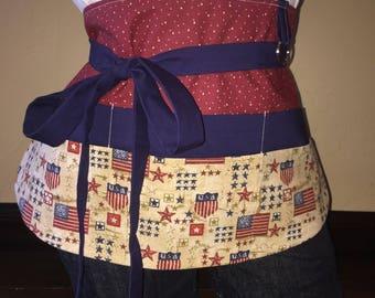 Red, White, and Blue USA Half Waist Pocket Apron
