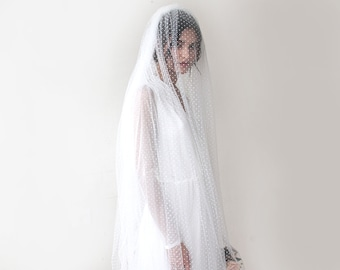 wedding Veil, chapel length veil, dots tulle veil, train length veil, 4020