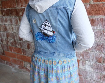 Hand Embroidered Nautical Jean Jacket