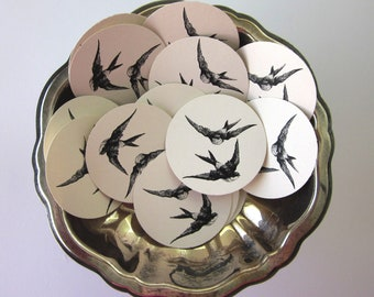 Flying Birds Sparrows Tags Round Paper Gift Tags Set of 10