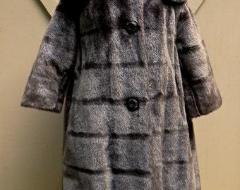 50s vintage Dark Brown Faux Fur Swing Coat