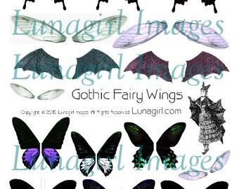 AILES de fées gothique collage numérique feuille, imprimable éphémères foncé Faerie libellule papillon chauve-souris ailes modifiés art spooky Halloween Télécharger