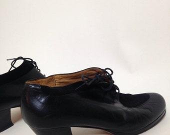 Vintage Italian 'ECCO' Black Leather Shoe | Lace Up | Cuban Heel | Swing | Rockabilly | 1940's Style | Suede | Oxford