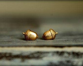 Tiny Acorn Earring Studs in Raw Brass, Silver Plated Brass, or Rose Gold Plated Brass, Stainless Steel Posts, Acorns Tree Forest Woods Seeds