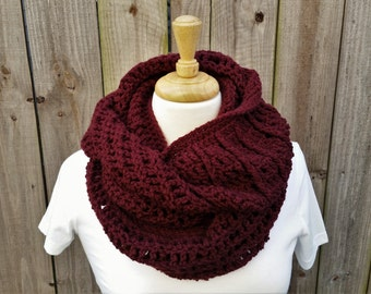 Crochet Infinity Scarf - Womens Oversized Scarf - Crochet Cowl - Textured Scarf - Gifts for Her - Winter Scarf - Eternity Scarf