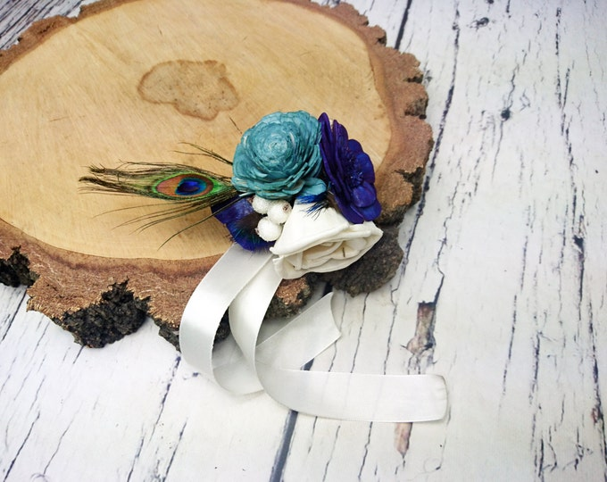 Peacock wedding ivory dark blue turqoise rustic Rustic WRIST CORSAGE bridesmaids mothers boutonniere, Sola Flower, Wedding Flowers custom