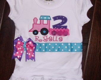 Tutu Train Birthday Shirt, Personalized Train Girl Shirt, Girls Birthday Train Shirt, Tutu Train Shirt