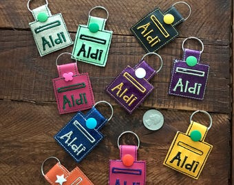 Aldi Quarter keychain, holds quarter snug and safe!