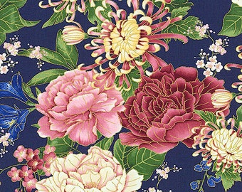 ASIAN FLORALS - Navy Blue/Gold Metallic Asian Japanese Fabric