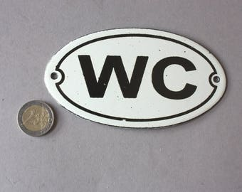 WC Toilet sign enamel Shabby, Vintage door sign bathroom, wall hanging oval lavatory, rustic wall plaque restroom white black, nostalgic