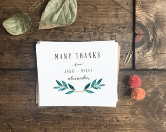 Custom Rustic Wedding Thank You Cards. Fall Wreath Leaves Simple Wedding Thank you cards. Custom Wedding Notecards. Custom Wedding Thank You