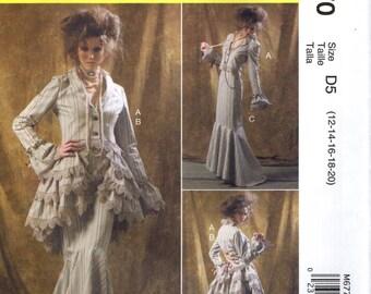 McCall's 6770 STEAMPUNK COSTUME Ruffled Jacket Bustle Skirt Pants Sizes 12 14 16 18 20 English & Spanish Espanol Instructions
