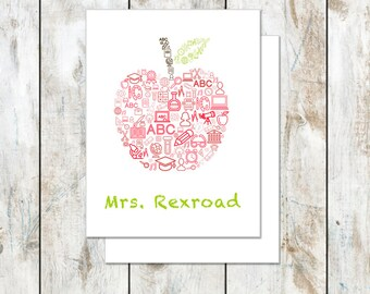 Teacher Stationery Gift - Apple Education Word Cloud - Teacher Thank You Notes - Apple Folded Cards