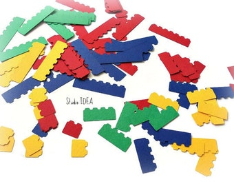 Building Blocks Confetti, Blue, Yellow, Green & Red - Building block Cut outs,  Embellishments or CHOOSE YOUR COLORS