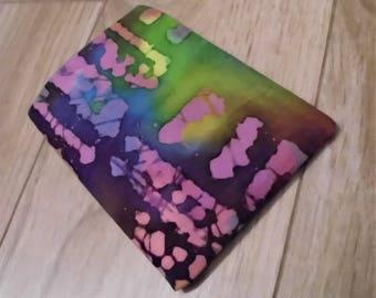 Birth Control Pill Case Pill Sleeve Pill Holder Business Card Holder Card Sleeve Batik Fabric Art