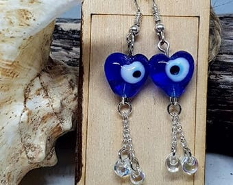 Heart Shaped Blue Evil Eye Glass Bead Shepherd Hook Earrings with Reclaimed Clear Glass Beads and Stainless Steel Elements