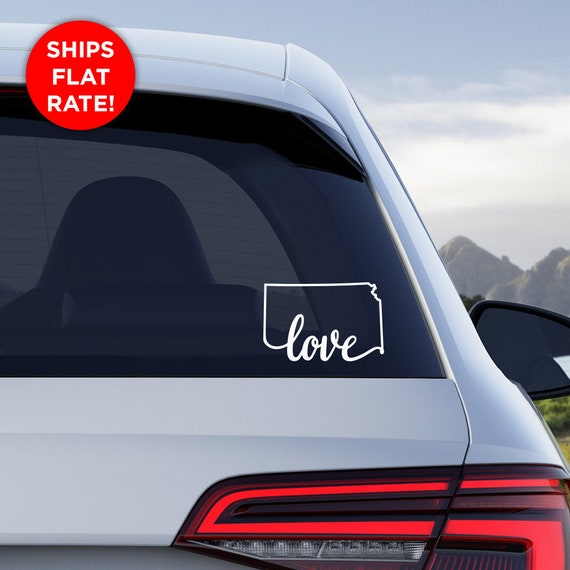 "Kansas State ""Love"" Decal - KS Home Car Vinyl Sticker - Add a heart over Wichita, Overland Park, Kansas City, Topeka, Olathe, Lawrence, Hays"