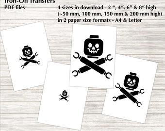 "Lego Skull n Bones - Iron-on Transfers - 4 sizes - 2"", 4"", 6"" & 8"" high - PDF, Instant Download"