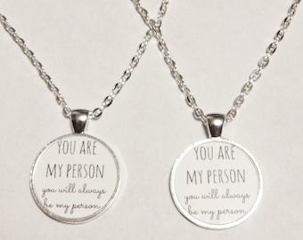 Best Friend Gift, You Are My Person You're My Person Necklace, Best Friend Neckace, Sisters Mother Daughter Partners In Crime Necklace Set