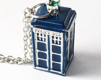 "Dr. Who Tardis in Blue on 22"" Chain"