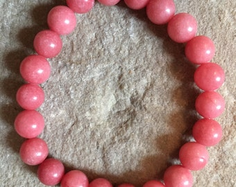 Coral semi precious gemstone 8mm bracelet