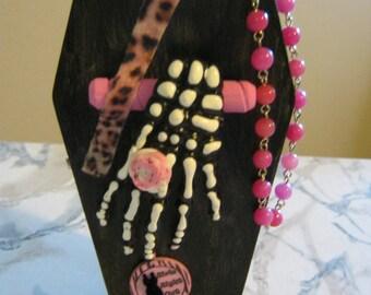 Skeleton Hand Coffin Purse, pink