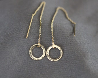 gold ear threaders, silver ear threaders, chain through ear, small earrings, circle earrings, shiny earrings, delicate earrings, E16