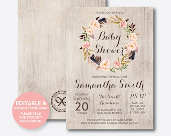 Instant Download, Editable Floral Baby Shower Invitation, Floral Invitation, Flower Baby Shower Invitation, Boho Rustic Baby Shower (FBS.05)