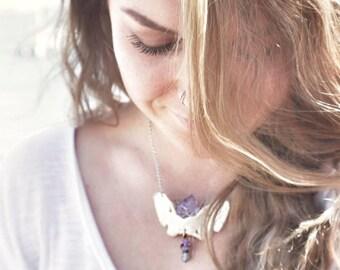 Vertebrae Amethyst Necklace, REAL Bone jewelry, Natural Art, Creepy Cute Crystal Necklace, Healing stones and bones