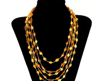 """Multi 5 Strand Genuine Russian Baltic Amber Delicate Necklace Natural Honey and Butterscotch Mixed Color Amber Beads 20"""""""